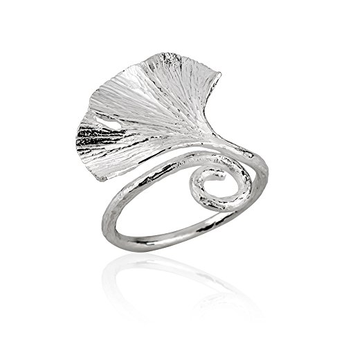 925 Sterling Silver Nature Inspired Gingko Large Fan Leaf Adjustable Ring, Sizes 6-9