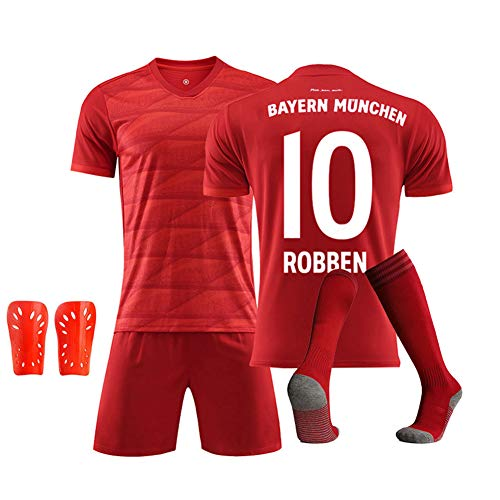 DDSC # 10 Robben Fußballverein Trikot Uniform, Kurzarm Socke Schienbeinschoner Training Wettbewerb Anzug Tank Tops Weste für Erwachsene Kinder Geschenk 16-XXL-Top Hemd red-S