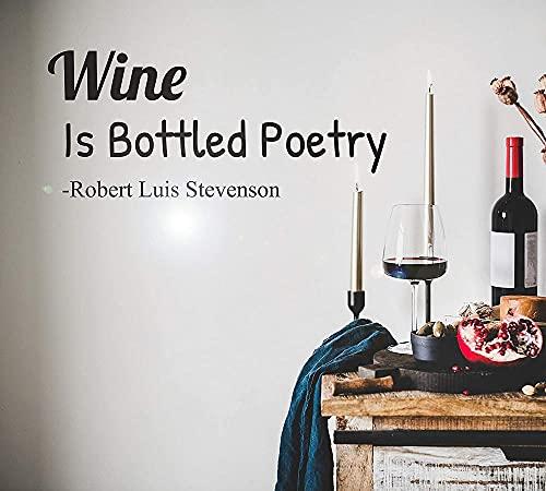 Vinilo etiqueta de la pared frase vino es embotellado poesía bar vidrios pegatina mural 52 * 72 cm