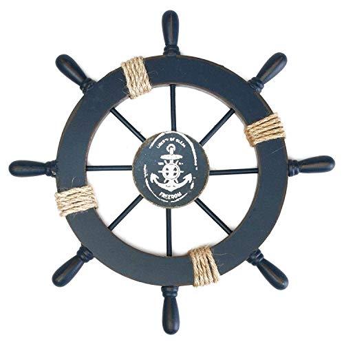 Fangoo 28 CM Timone Barca Decorativo in Legno Nautico Mare Barca Decor,Home Decor per Camera da Letto, Soggiorno Decorazione,Parete Decorazione (Blu)