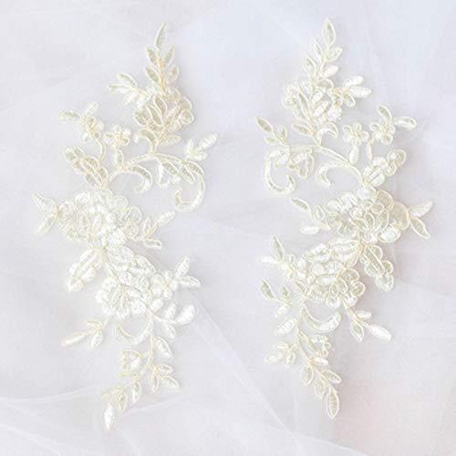 Geborduurde kanten applique kanten rand voor doe-het-trouwjurk gebroken wit/rood/gebroken wit met zilveren kleur 4 stuks / 2 paar 24,5 * 9,5 cm, champagne