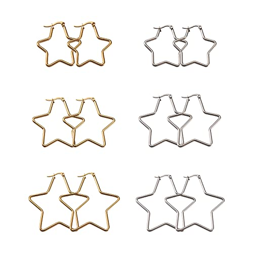 Beadthoven - Pendientes de aro de acero de titanio con diseño de estrella de Twiknle y estrella para joyas y pendientes, color dorado y platino