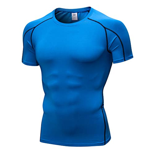 LOPILY Herren Einfarbig Tight Training Sports Laufendes Kurzarm-T-Shirt Sommer Männer Workout Fitness Yoga Sport Gym Athletic Shirt Top Bluse trocknendes Top Bluse Pullover(Blau,M)