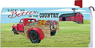 Custom Decor Life is Better in The Country - Mailbox Makeover - Vinyl with Magnetic Strips for Steel Standard Rural Mailbox - Made in The USA - Copyright, Licensed and Trademarked Inc.