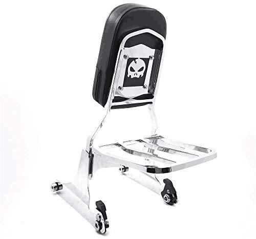 XKH- Skull Chrome Detachable Sissy Bar Backrest & Luggage Rack Compatible with Harley Softail FLH/FATBOY Softail FLSTN [B06W52XWXS]