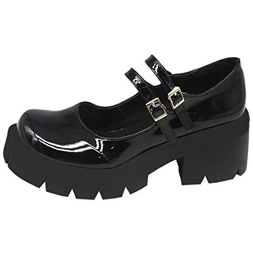 Etebella Damen Blockabsatz Plateau Gothic Lolita Pumps Mary Jane Lack Riemchen Halbschuhe Vintage School Uniform Schuhe(Schwarz Lack,35)