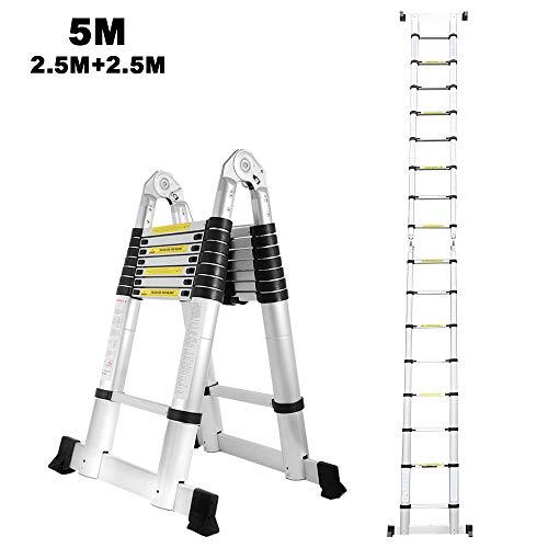 5M Aluminium ausziehbare Leiter Doppelseite 2,5M+2,5M Teleskopleiter Klappleiter Mehrzweckleiter Stehleiter 150 kg Belastbarkeit