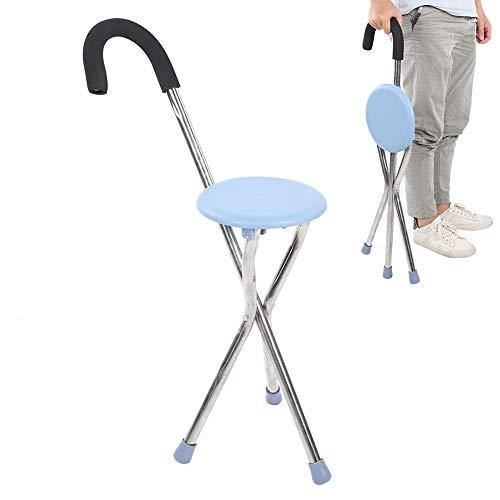Bastón plegable de acero inoxidable, bastón portátil de altura ajustable para caminar para personas mayores y discapacitadas, taburete, silla con muleta plegable, viajes al aire libre