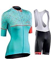 GET Conjunto de Maillot de Ciclismo de Manga Corta para Mujer, Tops Ajustados con Cremallera Completa + Pantalones Cortos Ropa de Bicicleta MTB Ropa de Bicicleta Trajes de Ciclismo