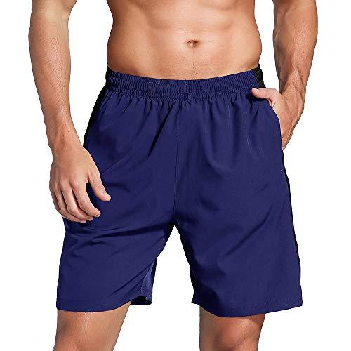 LUWELL PRO Herren Sporthose Kurz Hose Laufshorts Trainingsshorts Schnelltrocknend mit Rei/verschlusstasche/Jogging Hose für Workout,Laufsport,Fitness(007-Navy-M)