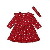 Snaked cat 2 piezas de vestido rojo de Navidad para niñas y niñas, vestido de princesa de manga larga + diadema de corazón rojo amor primavera vestido para fiesta boda edad 0-3 años, rosso, 100C