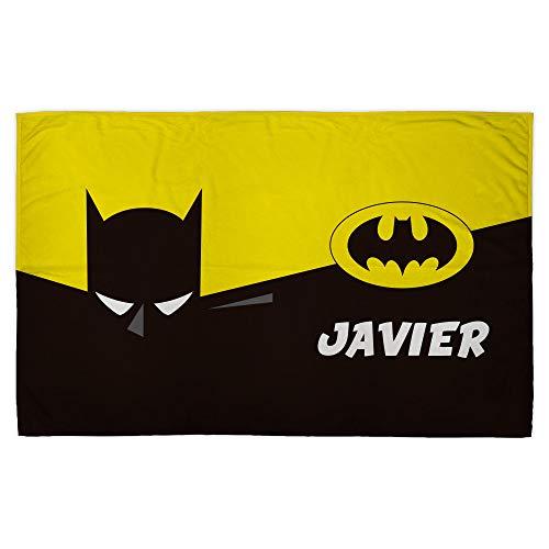 LolaPix Manta Batman. Manta Personalizada. Regalo Friki. Superhéroes. Tejido Certificado Oeko-Tex. Tamaño aproximado 120x190cm. Batman