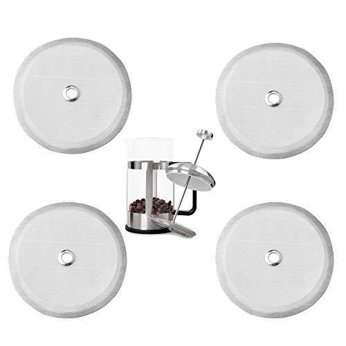 Gfdg Kaffeemaschine Ersatzfilter, 4 Stück French Press Ersatzfilter, Abnehmbare Edelstahl Ersatzfilter, Screen Kaffeepressen Filter, Geeignet für 8 Tassen/34OZ/1000 ml French Press Coffee Tea Makers