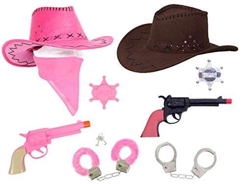 Alsino Cowboy & Cowgirl Paar Set Kostüm (Kv-68a) Cowboyhut in Wildleder-Optik mit Handschellen und Revolver