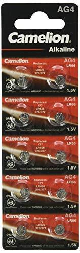 Camelion 12001004 Alkaline Knopfzelle (AG4, LR66, LR626, 377, 10er-Pack, Blister)