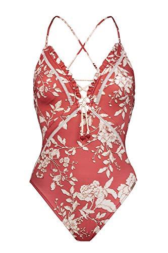 Watercult, Damen Badeanzug gefüttert ohne Bügel, Summer Renaissance 8122 des. 104 (38, Vintage red (763))