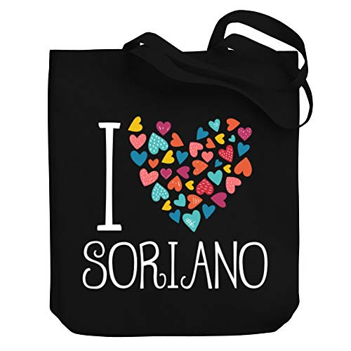 "Teeburon I Love Soriano Colorful Hearts Bolsa de Lona 10.5"" x 16"" x 4"""