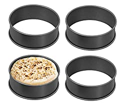EASY TO MAKE TEA TIME CRUMPERTS - Make homemade crumpets / muffins wiht these deep crumpet rings. Made from Non-Stick Carbon Steel, so your delicious crumpets won't get stuck to the inside of these rings. SO MANY USES - These crumpet rings are also p...