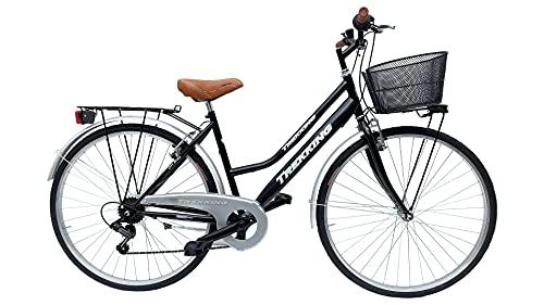 Bicicletta Donna da Passeggio Olanda Misura 28 Bici da città Vintage retrò con Cestino Nero Con Cambio