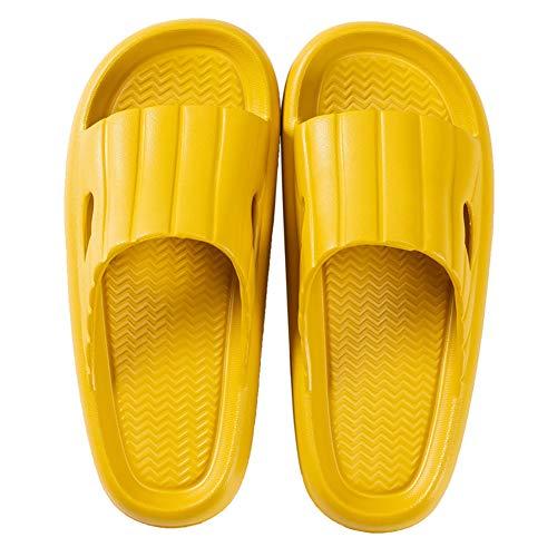 Sandalias de Playa Piscina Mujer Zapatos Plataforma Baño Ducha Chanclas Antideslizante Mujer Zapatillas Verano Casa 39/40 EU,Amarillo