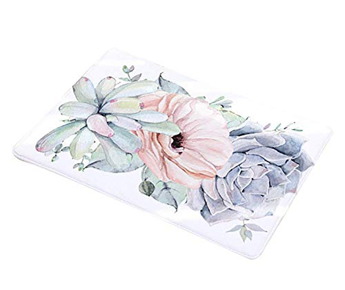 JINCHUANGMALL mat cactus bloemendruk vloermat deurmat badkamer keuken toilet lang absorberend anti-skid-mat tapijt, 26 * 45cm, C