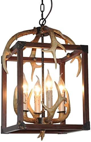 Lámpara colgante con cuernos de estilo vintage, de resina, con 4 soportes de bombilla en espiral de E14, para interiores, para salón, bar, cafetería, restaurante de comedor, balcón