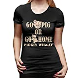 Go Pig Or Go Home Piggly Wiggly Morden Women's T-Shirt Black XL