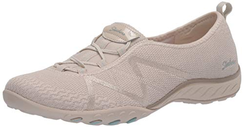 Skechers Breathe-Easy-A-Look, Zapatillas Mujer, Beige (Nat Gray Soft Knit Mesh/Peach Trim), 38 EU