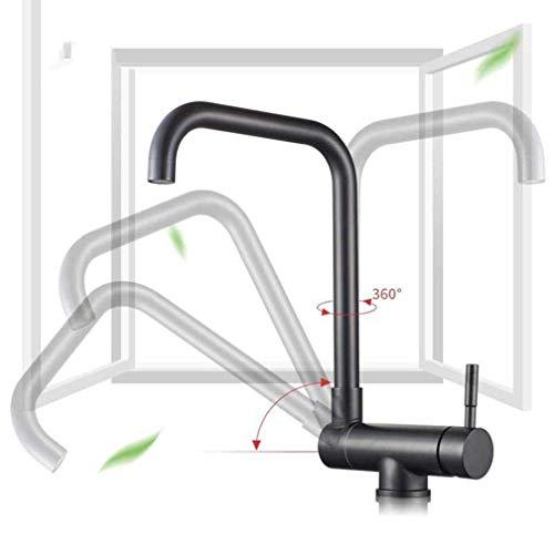Grifo de fregadero de cocina negro Grifo de cocina plegable de rotación 360 Grifo de lavabo de baño sin plomo de acero inoxidable Grifo mezclador con aireador montado en la cubierta