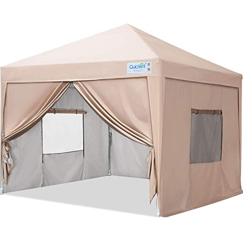 Quictent Privacy 10x10 EZ Pop Up Canopy Tent Instant Canopy Folding Party Tent with Sidewalls and Mesh Windows Waterproof -8 Colors (Beige)