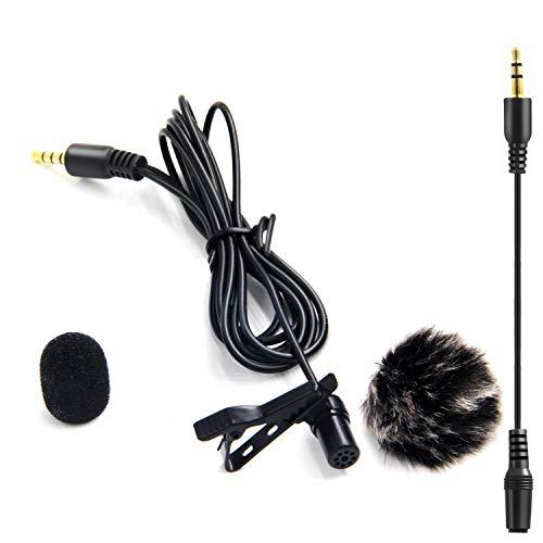 LVM3 Lavalier Mikrofon,Freisprech Ansteck Revers Mikrofon 6m Audiokabel mit Windscreen Muff für iPhone iPad Android Smartphones DSLR Kameras Camcorder PC