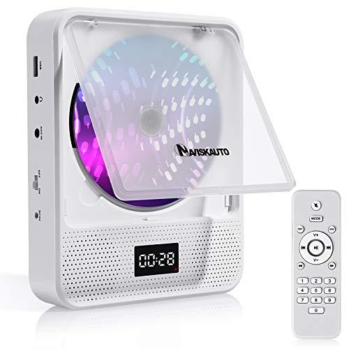 NAVISKAUTO cdプレーヤー 壁掛け バッテリー内蔵 卓上 ポータブル スピーカー内蔵 ステレオ音楽 システム LEDディスプレイ USB 語学学習 防塵カバー リモコン 18ヶ月保障