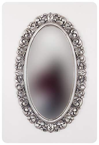 Rococo Espejo de Pared Decorativo Ovali Buriro de 100x60 en Plata (Envejecida)