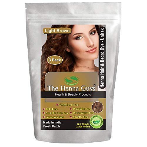 3 Pack Light Brown Henna Hair & Beard Dye/Color - The Henna Guys