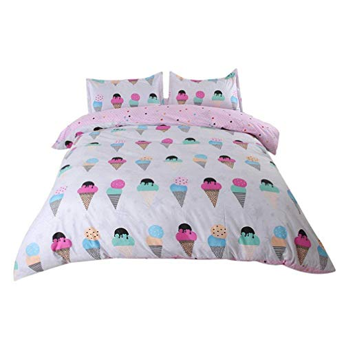 Sookie 3Pcs Cartoon Ice Cream Bedding (No Comforter and Sheet) Set for Kids Girls and Boys,Include Pink Duvet Cover +2 Pillowcases - Full/Queen Size
