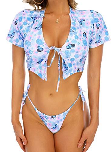 FOBEXISS Conjunto de tankini sexy de manga corta con cordones, 2 piezas, con tangas, estampado de mariposas, trajes de baño