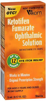 Akorn Ketotifen Fumarate Ophthalmic Solution 5ml - 1 Each, Pack of 3