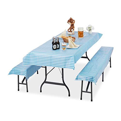 Relaxdays Biertentgarnituur Ooktoberfest, set van 3, biertafel, tafelkleed 250 x 100 cm, 2 bierbankkussens, wit-blauw