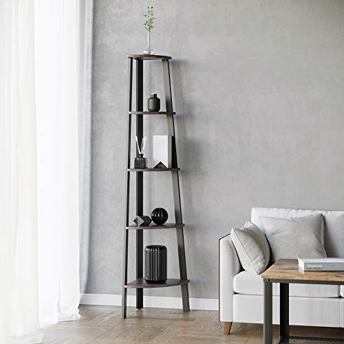 VASAGLE Industrial Corner Shelf, 5-Tier Ladder Bookcase, Storage Rack, with Metal Frame, for Living Room, Home, Office, Rustic Dark Brown