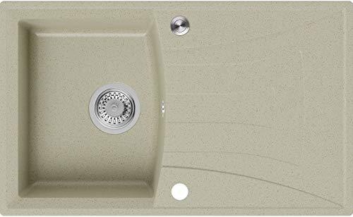 Granitspüle Beige 77 x 47 cm, Spülbecken + Siphon Pop-Up, Küchenspüle ab 45er Unterschrank, Einbauspüle Valencia von Primagran