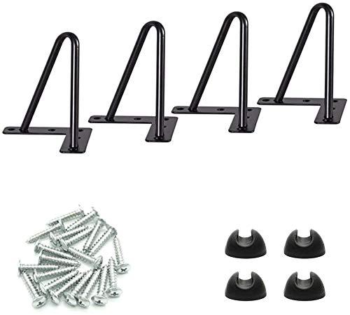 4pcs Pieds de table en épingle à cheveux-4 pouces pieds de table en métal bricolage pour Heavy Duty-Parfait pour meuble, meuble TV, tiroirs, table de chevet, est livré avec vis et protecteurs de sol