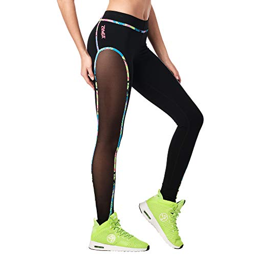Zumba Dance Workout for Women Fashionable Leggings with Breathable Mesh Panels, Color Negro, M para Mujer