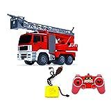 Moerc 360 ° Giros R/C de Camiones de Bomberos con Las Luces Sirena remota de Control de Incendios Camiones Withing Extendiendo Escalera Radio Controla el Coche del Truco Mejor Juguete for niños y ni