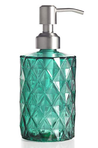 Easy-Tang Clear Glass Soap Dispenser 12 Ounce for Kitchen,Bathroom - Refillable Wash Hand Liquid Bottle with Stainless Steel Pump,Ideal for Dish Detergent,Essential Oil,Shampoo Lotion (Green)