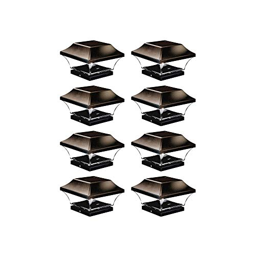 NOMA Solar Post Lights   Automatic ON/Off Waterproof Outdoor Cap Lights for 4 x 4 Wooden Post,   Cool White, 8-Pack (Brown)