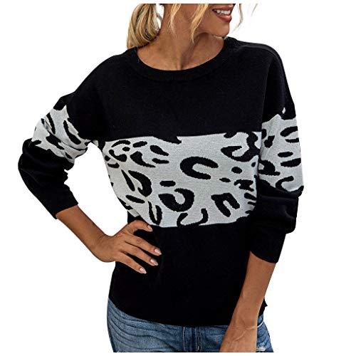 BaZhaHei Mode Damen Sweatshirt Herbst Winter O-Ausschnitt Streifen Leopardenmuster Bequeme Langarm Patchwork Pullover Tops Strickpulli