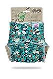 Petit Lulu Pañal de bambú ajustable Maxi-Night | Snaps | Orgánico mullido | Reutilizable y lavable | Hecho en Europa (Fabi Pandas)