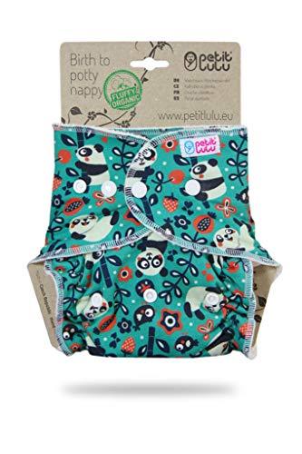 Petit Lulu Pañal ajustado Maxi-Night de bambú | Snaps | esponjoso orgánico | reutilizable y lavable | Hecho en Europa (panda de papá)