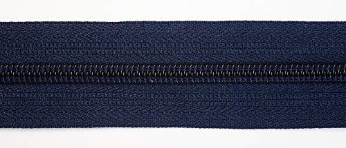 Jajasio Endlosreißverschluss mit Zipper 3mm (Nonlock), 5 Meter, Reißverschluss endlos Auswahl aus 40 Farben/Farbe: 73 – dunkelblau