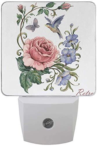 Paquete de 2 lámparas de luz nocturna LED enchufables, rosas de acuarela con impresión de mariposas con sensor de anochecer a amanecer para dormitorio, baño, pasillo, escaleras